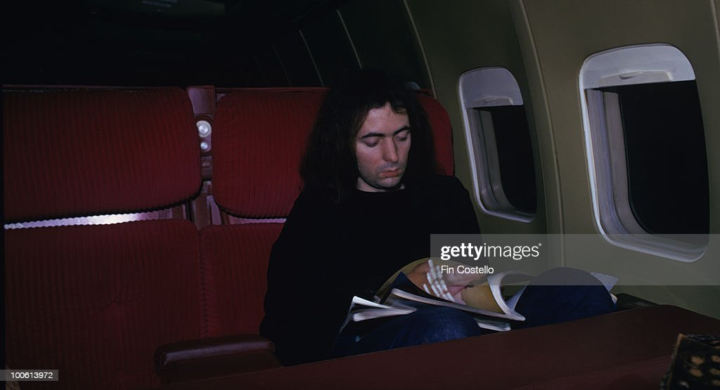 Deep Purple guitarist Ritchie Blackmore on an airplane during the US tour in March 1974.