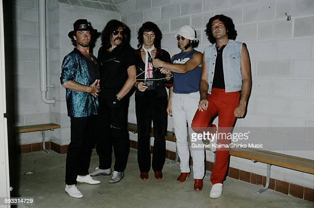 Deep Purple in backstage on Perfect Strangers tour in Australia unknown November 1984