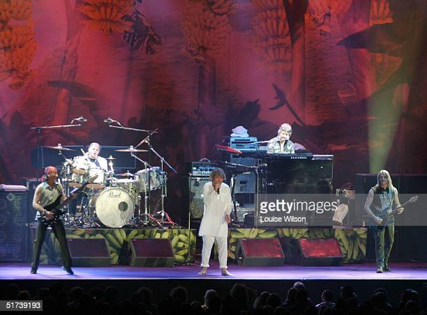 Deep Purple perform on stage as part of the British rock tripleheadline UK concert series' London stop at Wembley Arena on November 13 2004 in London
