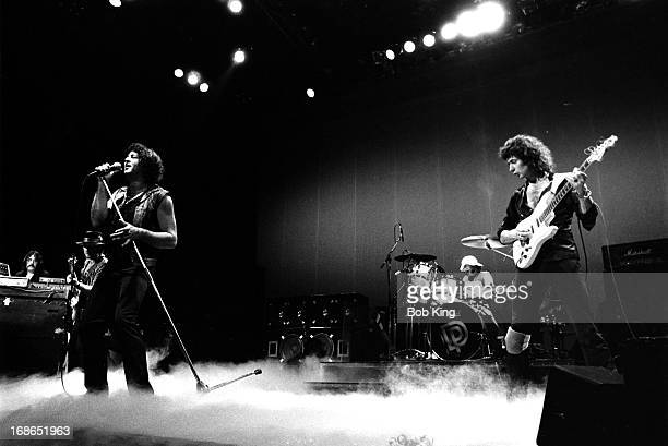 Deep Purple perform on stage on the Perfect Strangers World Tour at the Entertainment Centre Sydney 13th December 1984 Left to right Jon Lord Roger...