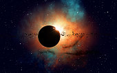imaginary deep space eclipse nebula with stars and asteroids