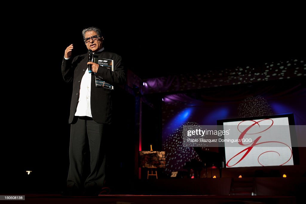 Deepack Chopra speaks on stage during the Global Gift Gala held to raise benefits for Cesare Scariolo Foundation and Eva Longoria Foundation on August 19, 2012 in Marbella, Spain.