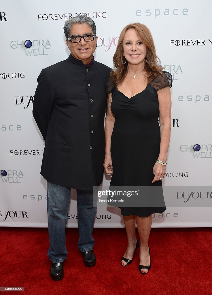 <a gi-track='captionPersonalityLinkClicked' href=/galleries/search?phrase=Deepak+Chopra&family=editorial&specificpeople=684107 ng-click='$event.stopPropagation()'>Deepak Chopra</a> and <a gi-track='captionPersonalityLinkClicked' href=/galleries/search?phrase=Marlo+Thomas&family=editorial&specificpeople=209421 ng-click='$event.stopPropagation()'>Marlo Thomas</a> attend The Chopra Well Launch Event at Espace on July 18, 2012 in New York City.