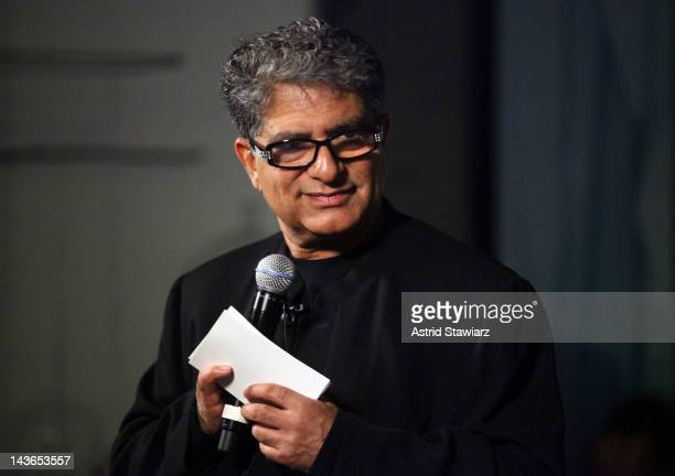 Deepak Chopra introduces Donavan at ABC Carpet on May 1 2012 in New York City