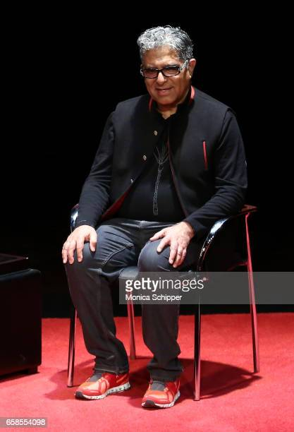 Deepak Chopra speaks on stage during TimesTalks With Deepak Chopra at Florence Gould Hall on March 27 2017 in New York City