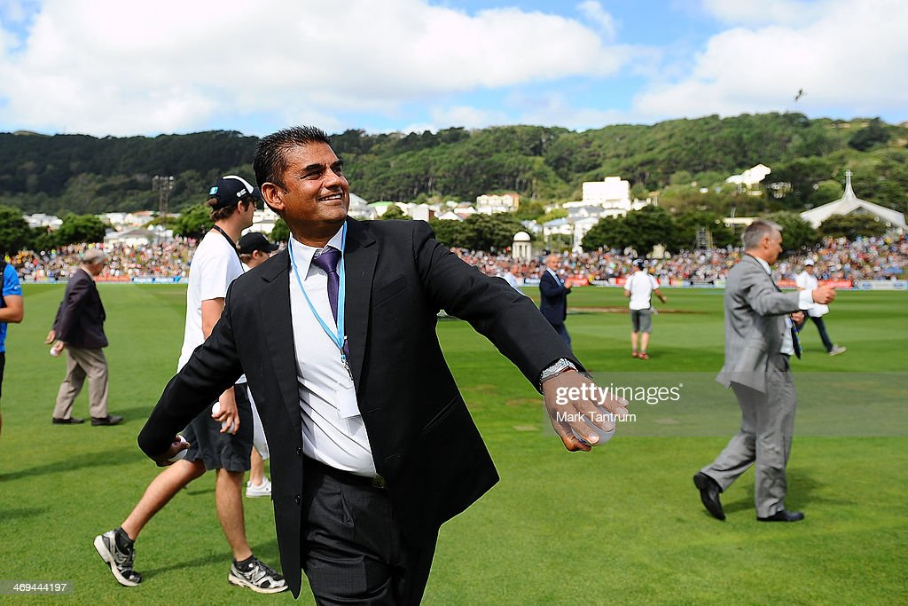 Deepak Patel gets ready to throw a ball into the crowd during the 'One Year To Go' to the ICC Cricket World Cup announcement at the Basin Reserve on February 15, 2014 in Wellington, New Zealand.