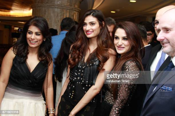 Deepika Gehani actress Athiya Shetty and Payal Sen during the launch of iconic New York design label 'Coach' store at DLF Emporio Vasant Kunj on...