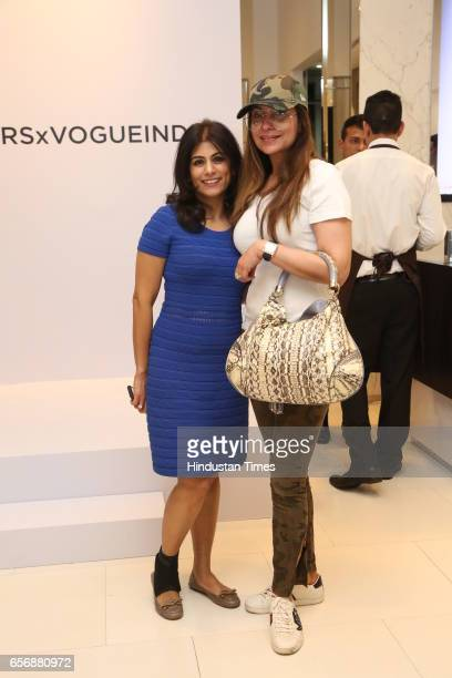 Deepika Gehani and Tanish Mohan during an event at Michael Kors store at DLF Emporio Mall on March 20 2017 in New Delhi India