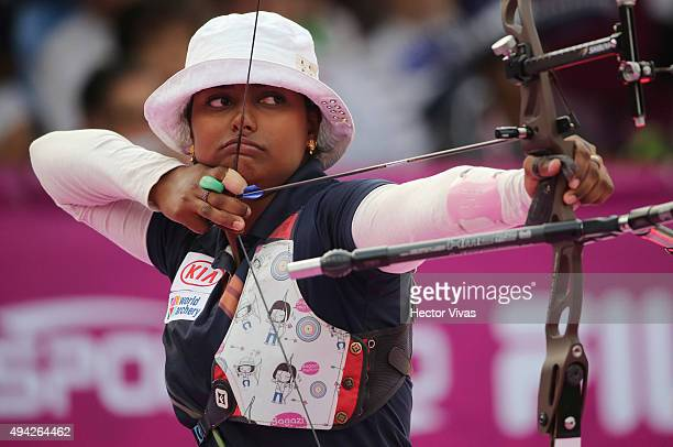 Deepika Kumari of India shoots during the recurve women's individual competition as part of the Mexico City 2015 Archery World Cup Final at Zocalo...
