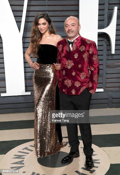 Deepika Padukone and Christian Louboutin arrive for the Vanity Fair Oscar Party hosted by Graydon Carter at the Wallis Annenberg Center for the...
