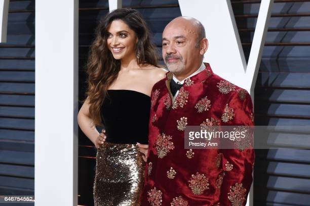 Deepika Padukone and Christian Louboutin attend the 2017 Vanity Fair Oscar Party hosted by Graydon Carter at Wallis Annenberg Center for the...