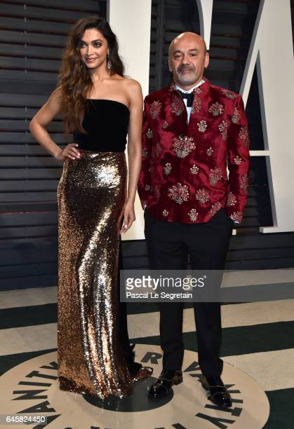 Deepika Padukone and designer Christian Louboutin attend the 2017 Vanity Fair Oscar Party hosted by Graydon Carter at Wallis Annenberg Center for the...
