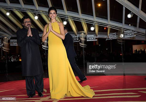 Deepika Padukone and indian Director Sanjay Leela Bhansali attend the opening night at 13th Marrakech International Film Festival on November 29 2013...