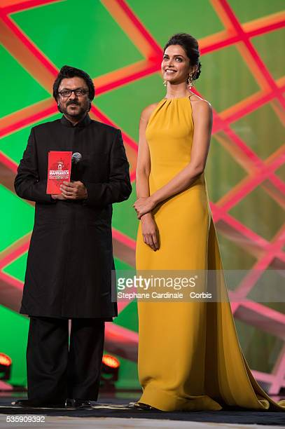 Deepika Padukone and indian Director Sanjay Leela Bhansali on stage during the Opening Ceremony of the 13th Marrakech International Film Festival in...