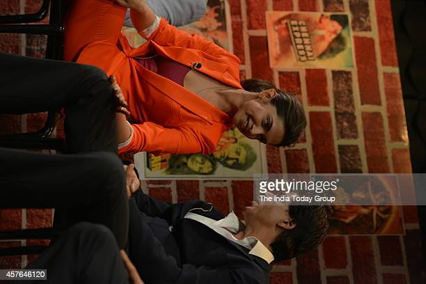 Deepika Padukone and Shah Rukh Khan at the promotions of their upcoming movie of 'Happy New Year at India Today office in Noida