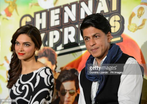 Deepika Padukone and Shahrukh Khan at a press conference for the film Chennai Express at the Courthouse hotel in central London