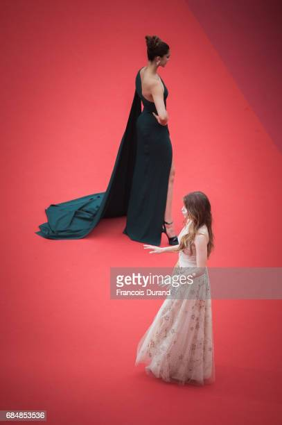 Deepika Padukone and Thylane Blondeau attend the 'Loveless ' screening during the 70th annual Cannes Film Festival at Palais des Festivals on May 18...