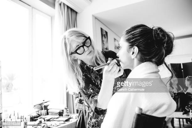 Deepika Padukone has her makeup done at the Martinez hotel prior attending the 'Loveless ' screening on May 18 2017 in Cannes France