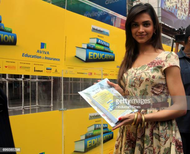Deepika Padukone inaugrated the Aviva wall of education at Phoenix mill Lower Parel in Mumbai