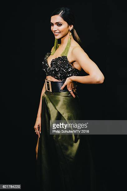 Deepika Padukone poses backstage with EVOS during the MTV EMA's 2016 at the Ahoy on November 6 2016 in Rotterdam Netherlands