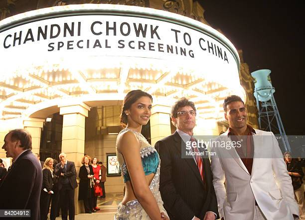 Deepika Padukone President Chief Operating Officer of Warner Bros Alan Horn and Akshay Kumar arrive to the special Los Angeles screening of 'Chandni...