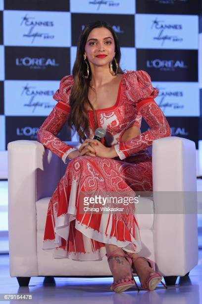 Deepika Padukone unviels L'Oreal Paris' 'The Cannes Collection 2017' at Taj Land's End on May 5 2017 in Mumbai India