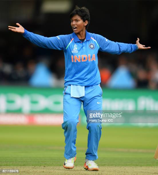 Deepti Sharma of India appeals for the wicket of Sarah Taylor of England during the ICC Women's World Cup 2017 Final between England and India at...