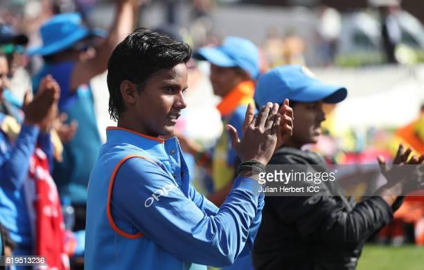 Deepti Sharma of India applauds her team mate Harmanpreet Kaur as she scores runs during The Womens World Cup 2017 SemiFinal between Australia and...