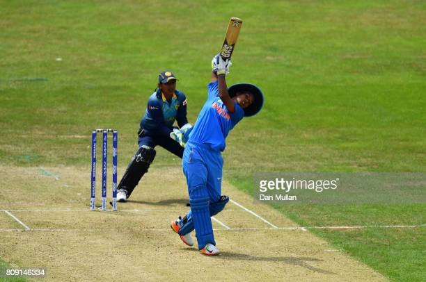 Deepti Sharma of India bats during the ICC Women's World Cup 2017 match between Sri Lanka and India at The 3aaa County Ground on July 5 2017 in Derby...