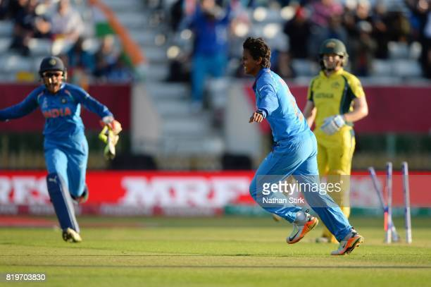 Deepti Sharma of India celebrates as she gets the winning wicket during the SemiFinal ICC Women's World Cup 2017 match between Australia and India at...