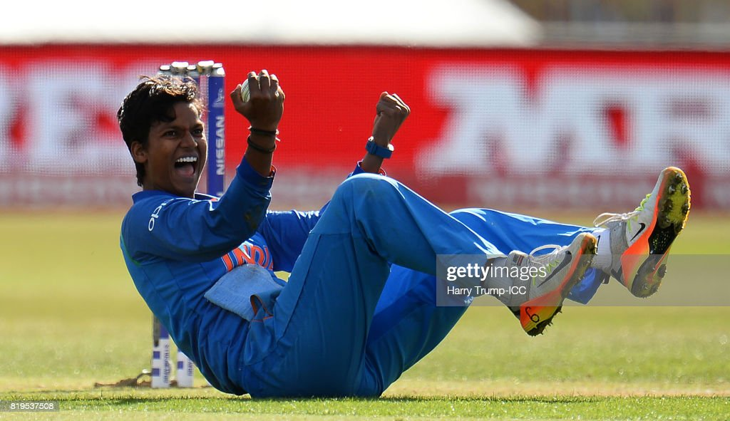 Deepti Sharma of India celebrates as she takes a catch off her own bowling to dismiss Nicole Bolton of Australia during the ICC Women's World Cup 2017 match between Australia and India at The 3aaa County Ground on July 20, 2017 in Derby, England.