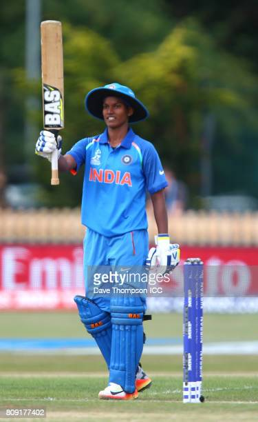 Deepti Sharma of India celebrates reaching gift not out during the ICC Women's World Cup match between Sri Lanka and India at The 3aaa County Ground...