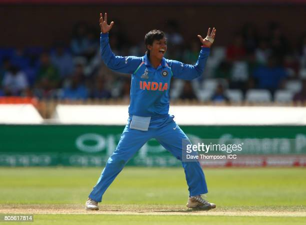 Deepti Sharma of India celebrates taking the wicket of Seda Nain Fatima Abidi of Pakistan during the ICC Women's World Cup match between India and...
