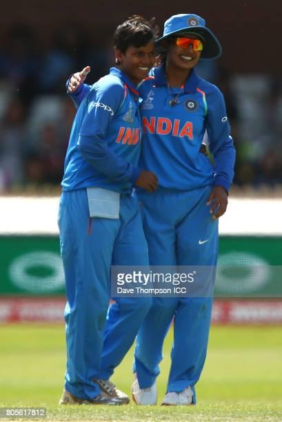 Deepti Sharma of India celebrates with Mithali Raj of India after taking the wicket of Seda Nain Fatima Abidi of Pakistan during the ICC Women's...
