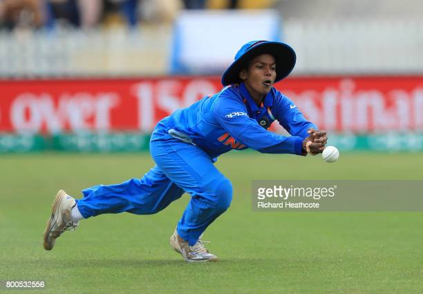 Deepti Sharma of India drops a chance to catch Tammy Beaumont of England during the England v India group stage match at the ICC Women's World Cup...