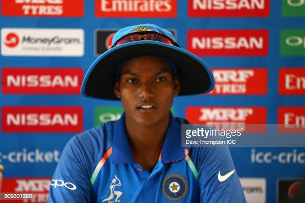 Deepti Sharma of India during a press conference following the ICC Women's World Cup match between Sri Lanka and India at The 3aaa County Ground on...