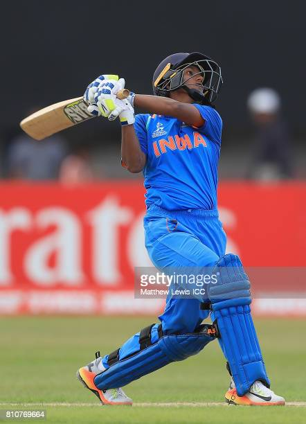 Deepti Sharma of India hits the ball towards the boundary during the ICC Women's World Cup 2017 match between South Africa and India at Grace Road on...