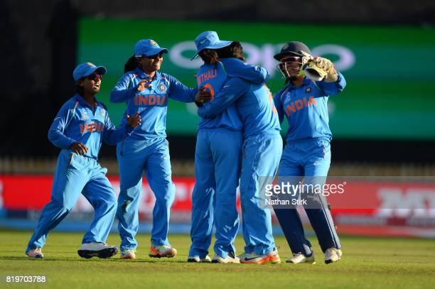Deepti Sharma of India is hugged fby Mithali Rajd as they win the SemiFinal ICC Women's World Cup 2017 match between Australia and India at The 3aaa...