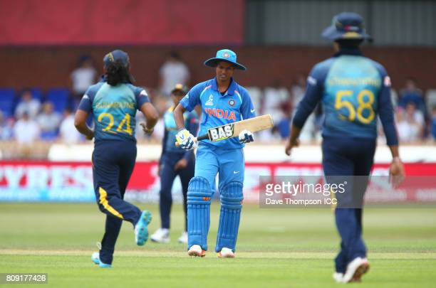Deepti Sharma of India leaves the field after getting out during the ICC Women's World Cup match between Sri Lanka and India at The 3aaa County...