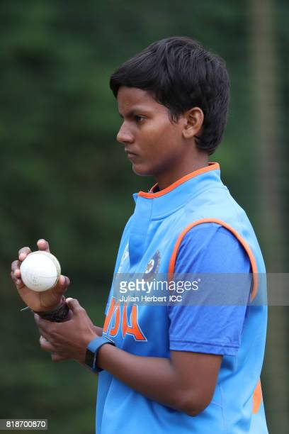 Deepti Sharma of India takes part in a training session prior to The ICC Women's World Cup 2017 SemiFinal between Australia and India at The County...