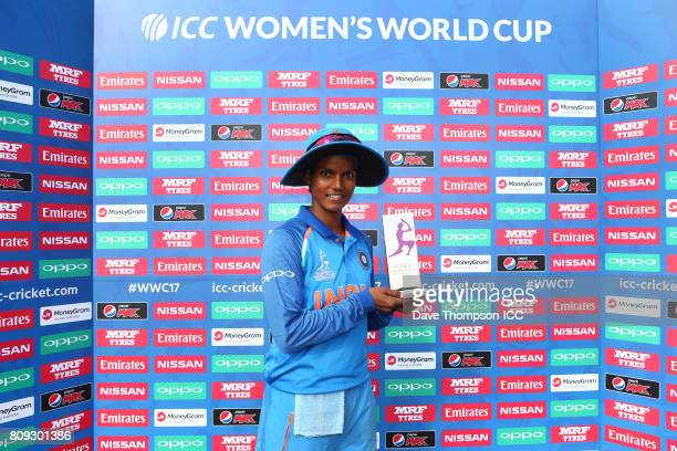 Deepti Sharma of India with her player of the match award during the ICC Women's World Cup match between Sri Lanka and India at The 3aaa County...