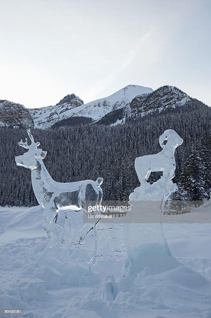 Deer and ram ice sculptures