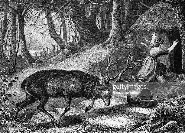 Deer attacking a farmer historical engraving 1869