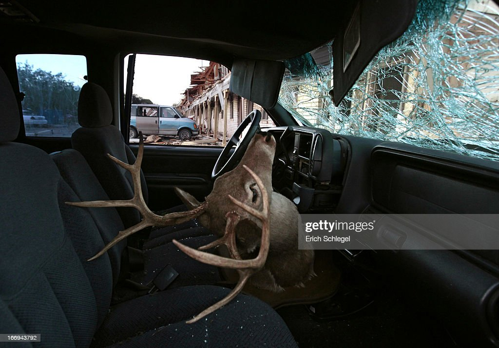 A deer head mount sits inside a damaged car parked next to the apartment complex that was severely damaged by yesterday's explosion at the fertilizer plant on April 18, 2013 in West, Texas. According to West Mayor Tommy Muska, around 14 people, including 10 first responders, were killed and more than 150 people were injured when the fertilizer company caught fire and exploded, leaving damaged buildings for blocks in every direction.