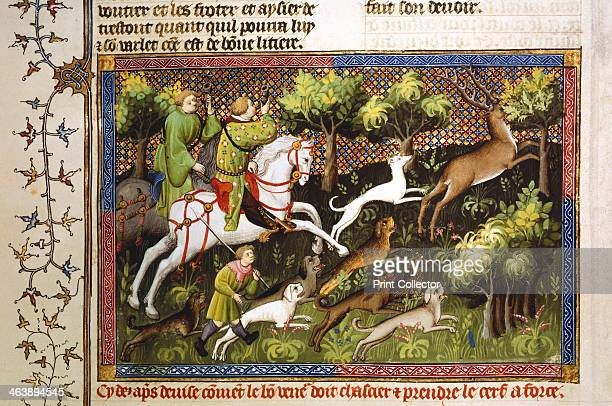Deer hunt 15th century Hounds and mounted huntsmen blowing horns chasing a stag through a forest From Le Livre de la Chasse of Gaston III Phoebus...