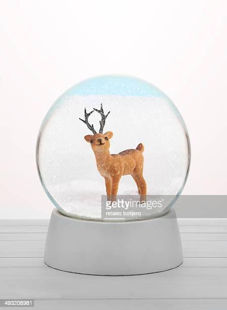 Deer in the snow globe.