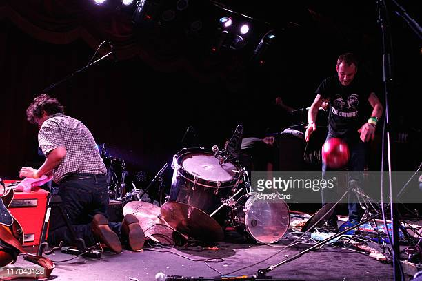 Deer Tick smashes their equipment at the conclusion of their performance during the 2011 Northside Music Festival at Brooklyn Bowl on June 19 2011 in...