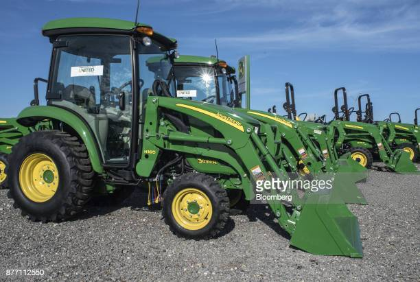 Deere Co John Deere 3039 R tractors sit on display at a United Ag Turf dealership in Waco Texas US on Monday Nov 20 2017 Deere Co is scheduled to...