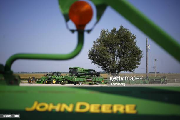 Deere Co John Deere farm machinery sit on display at the Smith Implements Inc dealership in Greensburg Indiana US on Wednesday Aug 16 2017 Deere Co...