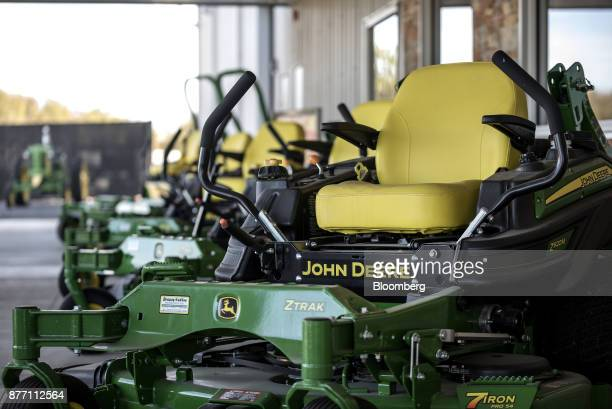 A Deere Co John Deere ZTrak lawn mower sits on display at a United Ag Turf dealership in Waco Texas US on Monday Nov 20 2017 Deere Co is scheduled to...